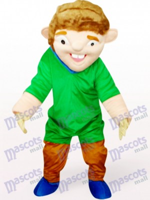 Costume de mascotte de Green Strange Man en costume rouge