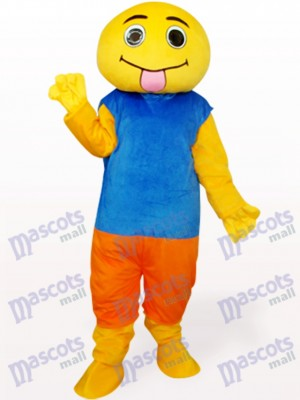 Costume de mascotte adulte poupée marron et bleu