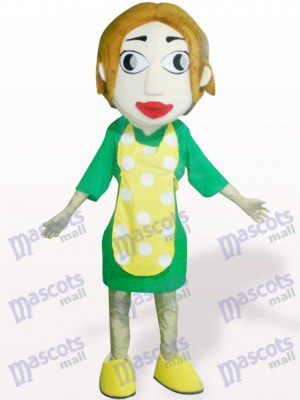 Femme avec tablier jaune Costume de mascotte adulte de dessin animé