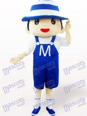Costume de mascotte adulte bleu Bonnet Boy Cartoon