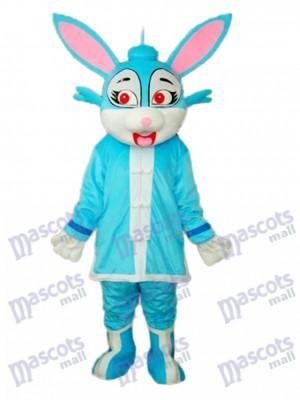 Lapin bleu de Pâques en costume mascotte rembourré Costume adulte