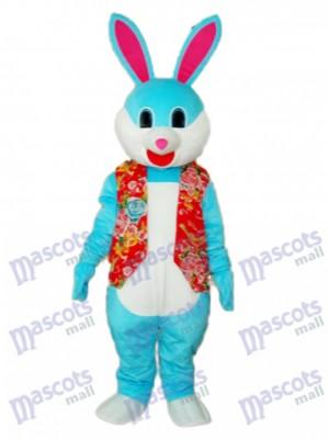 Lapin bleu de Pâques en veste rouge mascotte Costume adulte Animal
