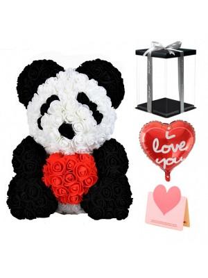Panda Ours Rose avec Coeur rouge Meilleur cadeau pour la fête des mères, la Saint-Valentin, les anniversaires, les mariages et les anniversaires