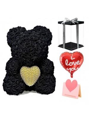 Noir Ours en peluche rose Fleur Ours avec Coeur de perle Meilleur cadeau pour la fête des mères, la Saint-Valentin, les anniversaires, les mariages et les anniversaires