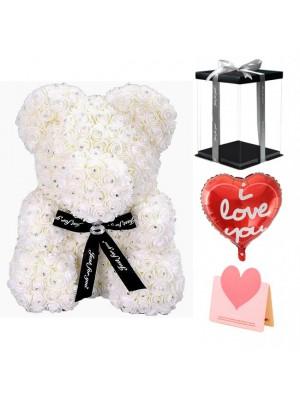 diamant blanc Ours en peluche rose Fleur Ours Meilleur cadeau pour la fête des mères, la Saint-Valentin, les anniversaires, les mariages et les anniversaires