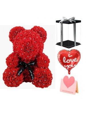 diamant rouge Ours en peluche rose Fleur Ours Meilleur cadeau pour la fête des mères, la Saint-Valentin, les anniversaires, les mariages et les anniversaires