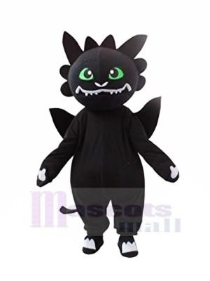 Noir Dragon avec vert Yeux Mascotte Les costumes Dessin animé