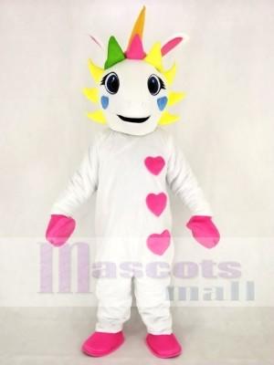 Réaliste blanc Licorne avec Cœurs et Coloré klaxon Mascotte Costume Dessin animé