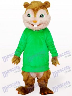 Écureuil vert avec de longs cheveux et des dents courtes Costume de mascotte adulte animaux