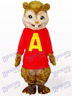 Écureuil roux avec de longs cheveux et des dents courtes Costume adulte de mascotte d'animal