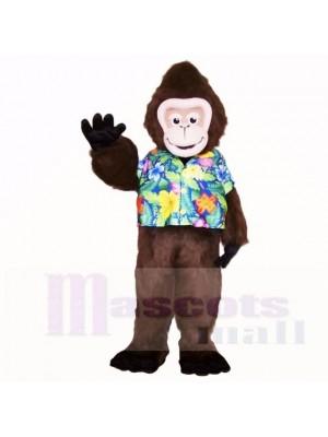 Gorille d'été avec une chemise de couleur fleur mascotte costumes bande dessinée