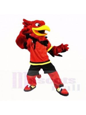 sport Gryphon avec rouge Chemise Costumes De Mascotte Dessin animé