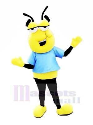 Paresseux abeille avec Bleu T-shirt Mascotte Les costumes Dessin animé