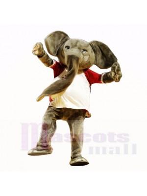 Éléphant de sport avec une chemise blanche Costumes de mascotte Adulte