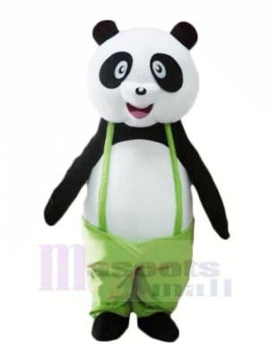 Mignonne Panda dans vert Mascotte Les costumes Pas cher