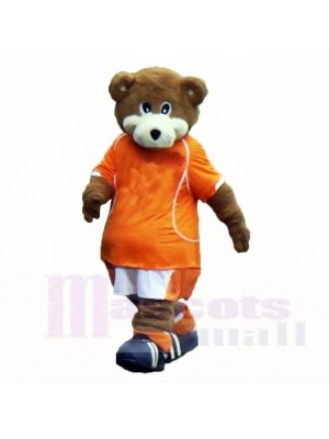Football Ours avec Orange T-shirt Costumes De Mascotte École