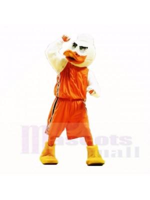 Mascotte sport avec une chemise orange mascotte adulte