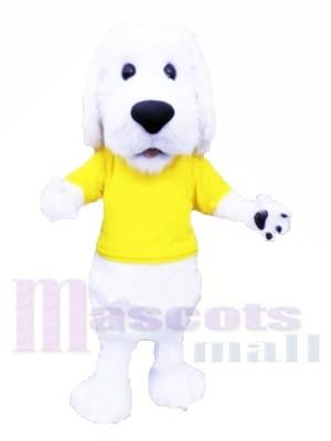 Mignonne blanc Chien avec Jaune T-shirt Mascotte Les costumes Animal