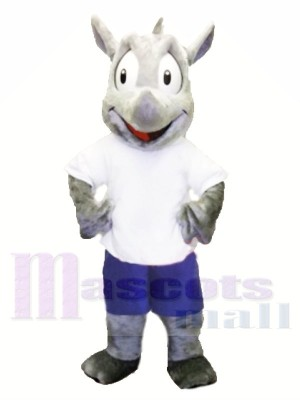 Sport Maskottchen Kostüm Robert Rhino Maskottchen Kostüm für Erwachsene