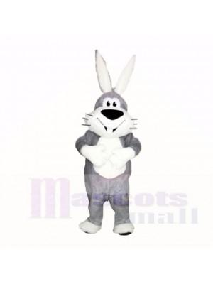 Souriant Gris et blanc lapin Costumes De Mascotte Dessin animé