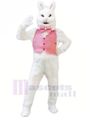 blanc lapin lapin avec Rose ilet Mascotte Les costumes Pas cher