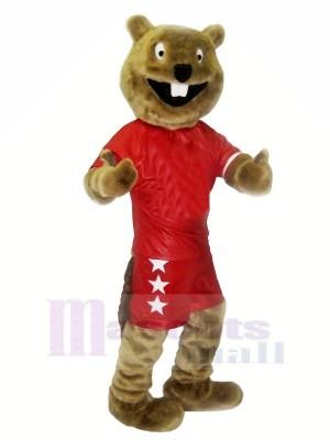 marron Castor avec rouge Costume Mascotte Les costumes Pas cher
