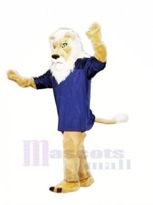 marron Lion avec Bleu T-shirt Mascotte Les costumes Adulte