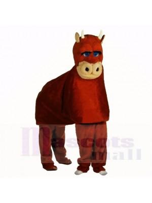 Costume de mascotte taureau brun pour deux adultes