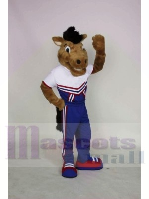 Souriant Mustang Mascotte Les costumes Animal