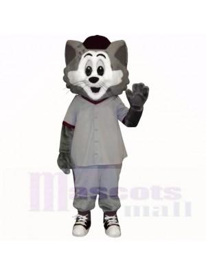 Gris et blanc Chat avec Gros Les yeux Costumes De Mascotte Dessin animé