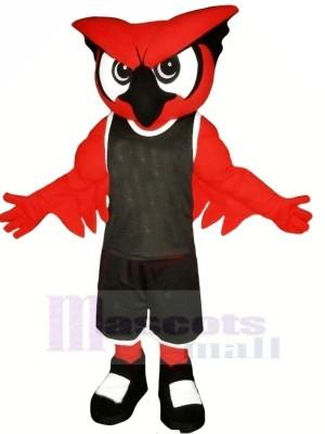 rouge Hibou avec Noir Costume Mascotte  Les costumes