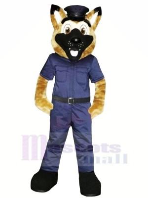 Souriant Police Chien Mascotte Les costumes Dessin animé