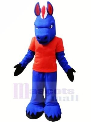 Bleu Cheval avec rouge T-shirt Mascotte Les costumes