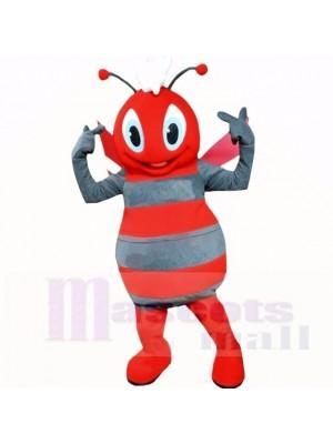 Souriant Gris et rouge abeille Costumes De Mascotte Dessin animé