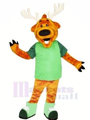 Heureux Cerf dans vert Mascotte Les costumes Dessin animé