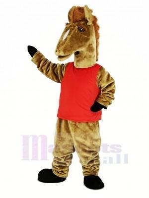 marron Mustang avec rouge Gilet Mascotte Costume Animal