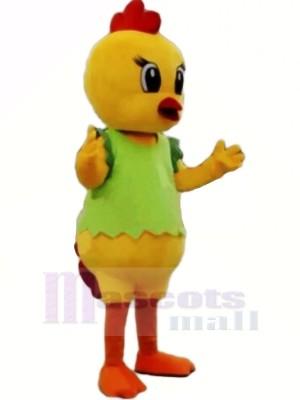 Jaune poulet avec vert Gilet Mascotte Les costumes Pas cher
