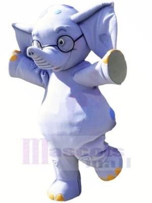 Bleu l'éléphant avec Des lunettes Mascotte Les costumes Dessin animé