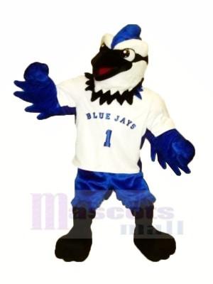 Bleu Geai avec blanc T-shirt Mascotte Les costumes