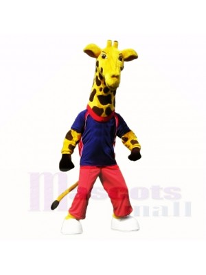sport Girafe avec Bleu Chemise Costumes De Mascotte École