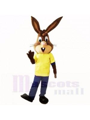 Amical Poids léger lapin avec Jaune Chemise Costumes De Mascotte École