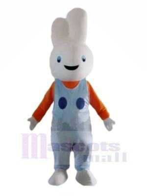 Souriant blanc lapin Mascotte Les costumes Dessin animé