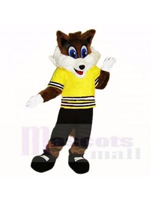 École de costumes de mascotte sport renard avec chemise jaune