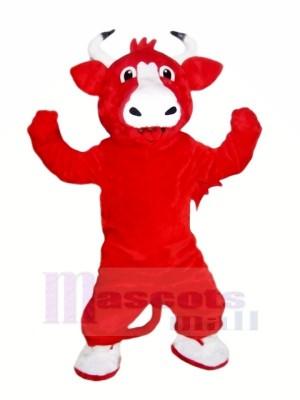 Heureux rouge Taureau Mascotte Les costumes Pas cher