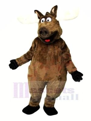 Heureux marron élan Mascotte Les costumes Dessin animé