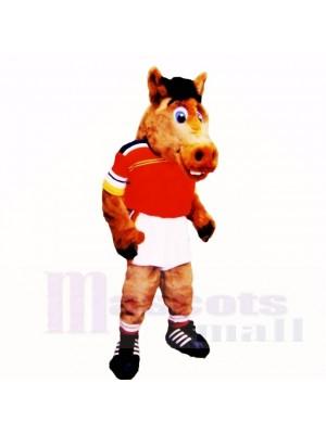 sport Poids léger Cheval avec rouge Chemise Costumes De Mascotte École