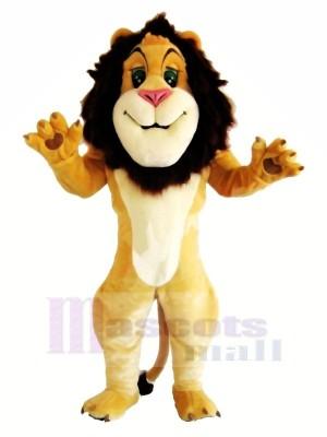 Heureux Souriant Lion Mascotte Les costumes Dessin animé
