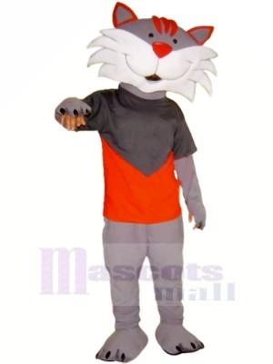 Heureux Gris Chat Mascotte Les costumes Dessin animé