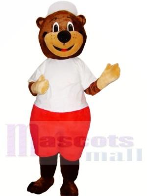 sport Ours avec blanc Chapeau Mascotte Les costumes Animal