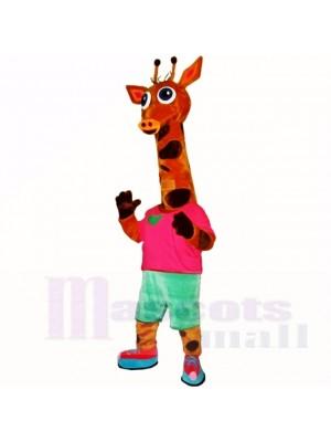 sport Poids léger Girafe avec rouge Chemise Costumes De Mascotte Dessin animé